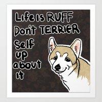 motivational Art Prints featuring Motivational Doggy by Kuroiyagi
