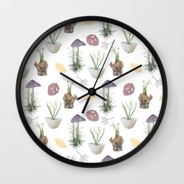 Mushrooms, spurge, horsetail, lily of the valley, leaves. Wall Clock
