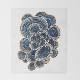 Blue Trametes Mushroom Throw Blanket