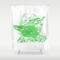 yoda Shower Curtains featuring Yoda by DanielBergerDesign