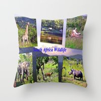 south africa Throw Pillows featuring South Africa Wildlife by Art-Motiva
