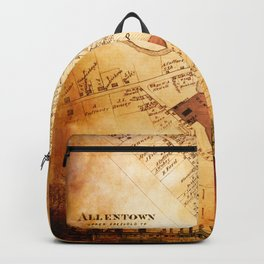 Allentown, New Jersey Map and Mill by Ericka O'Rourke Backpack