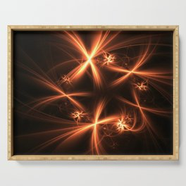 Orange abstract fractal as firework. Holiday theme. Serving Tray
