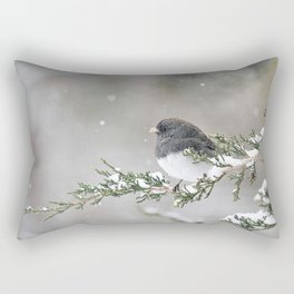 Snowbird on a Snowy Branch (Junco) Rectangular Pillow