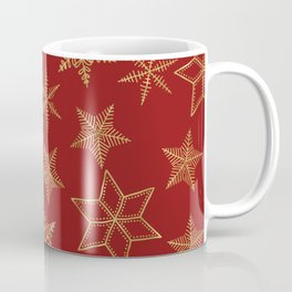 Snowflakes Red And Gold Coffee Mug