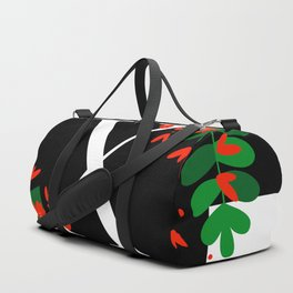 X - Monogram Black and White with Red Flowers Duffle Bag