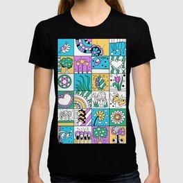 Inchie Doodle Design - Aqua Yellow - Spring T-shirt