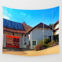 drums Wall Tapestries featuring The firestation of Eidenberg by Patrick Jobst