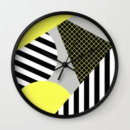 Eclectic Geometric - Yellow, Black And White Wall Clock