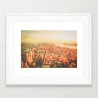 new york city Framed Art Prints featuring New York City Sunset by Vivienne Gucwa