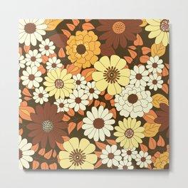 Brown, Orange, Ivory & Yellow Retro Flower Pattern Metal Print