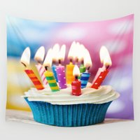 cake Wall Tapestries featuring Birthday cake by Asano Kitamura