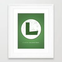 luigi Framed Art Prints featuring Luigi Hero by Head Glitch
