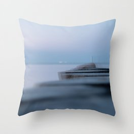 Wooden planks on the beach Throw Pillow