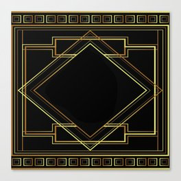 art deco gatsby black and gold lines geometric pattern Canvas Print