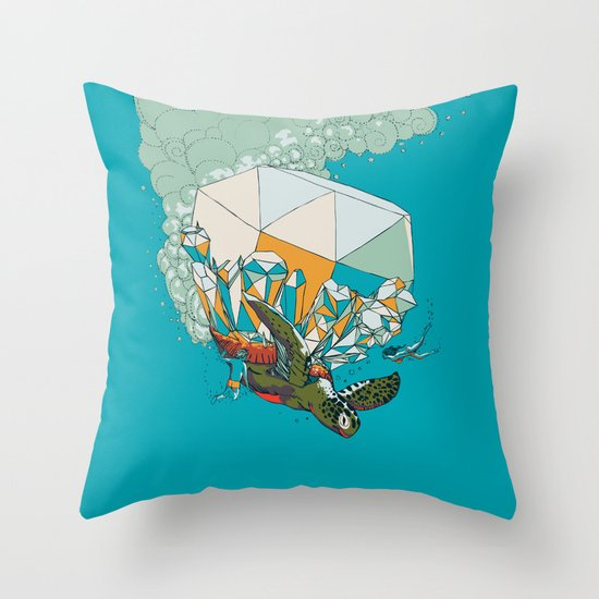 TURTLE& THE DIAMONDS Throw Pillow