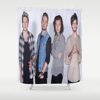 1d Shower Curtains featuring New 1D by kikabarros