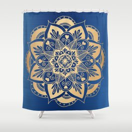 Blue and Gold Flower Mandala Shower Curtain