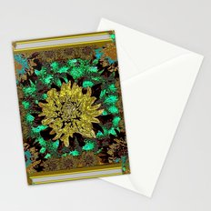 Stylized Abstracted  Khaki-Yellow Chrysanthemums Floral Stationery Cards