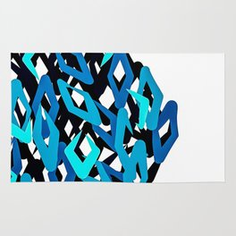 Chaotic Diamond Pattern in Blues Rug