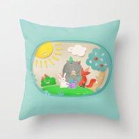 happy birthday Throw Pillows featuring happy birthday by Lidija Paradinović Nagulov - Celandine