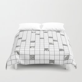 Abstract background with black and white crossword grid Duvet Cover