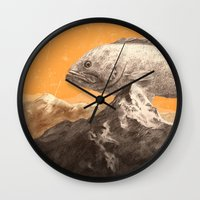 bass Wall Clocks featuring Mountain Bass by Sam Rowe Illustration