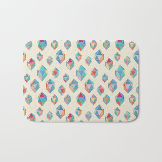 Floating Gems - a pattern of painted polygonal shapes Bath Mat