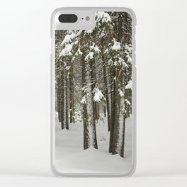 Snowfall in the taiga forest Clear iPhone Case