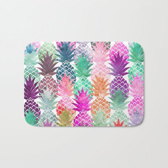 Bright exotic pineapples pastel watercolor pattern Bath Mat