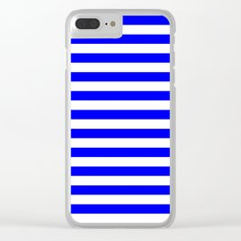 Narrow Horizontal Stripes - White and Blue Clear iPhone Case