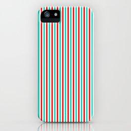 Red and Aqua Vertical Stripes iPhone Case