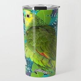 DECORATIVE GREEN PARROT JUNGLE GRAY-GREEN ART Travel Mug