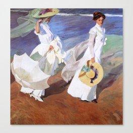Joaquin Sorolla - Walk on the Beach Canvas Print