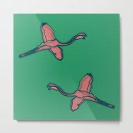 Pink Flamingo watercolor pattern emerald Metal Print