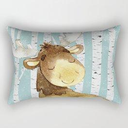 Winter Woodland Friends Deer Moose Snowy Forest Illustration Rectangular Pillow