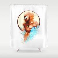 spider man Shower Curtains featuring Spider-Man by Rene Alberto