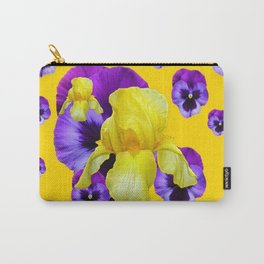 MONTAGE OF PURPLE PANSIES YELLOW IRIS Carry-All Pouch