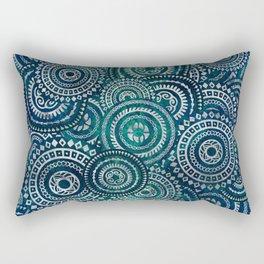 Gentle Teal and blue Circular Tribal  pattern Rectangular Pillow