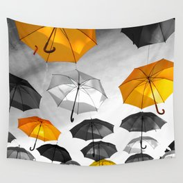 Yellow  is my color - Yellow and Black Umbrellas Wall Tapestry