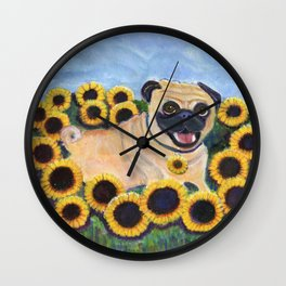 Pug in Sunflowers Wall Clock
