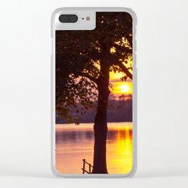 solis occasum prope lacum sito Clear iPhone Case
