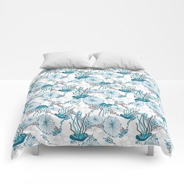 Underwater World with Jellyfishes dance Comforters