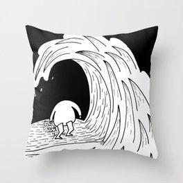 Enter the wave Throw Pillow