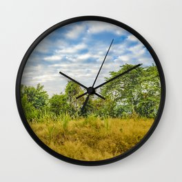 Meadow Tropical Landscape Scene, Guayaquil, Ecuador Wall Clock