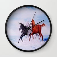 horses Wall Clocks featuring horses by shannon's art space