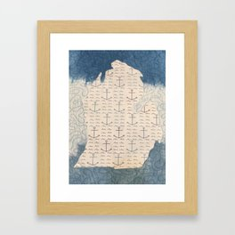 Quilted Nautical Michigan Framed Art Print