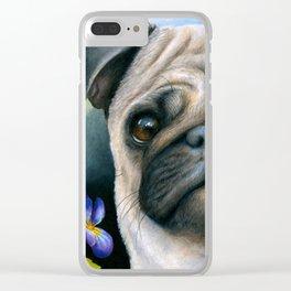 Dog 133 Pug Clear iPhone Case