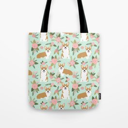 Corgi Floral Print - mint coral, floral, spring, girls feminine corgi dog Tote Bag