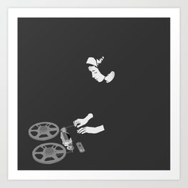 Delia with reel to reel audio tape recording Art Print